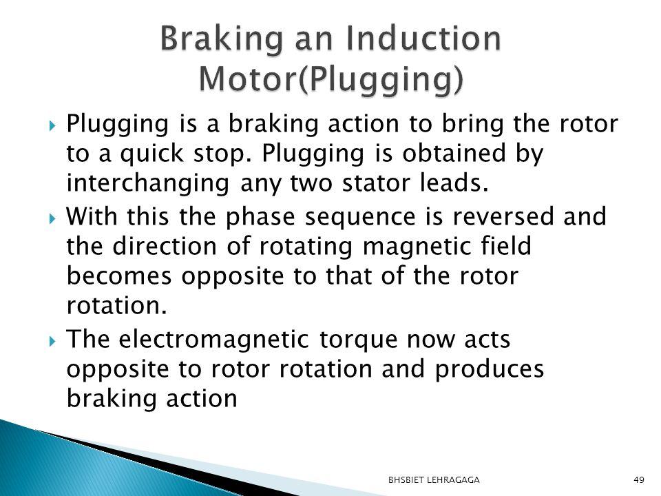 Braking an Induction Motor(Plugging)