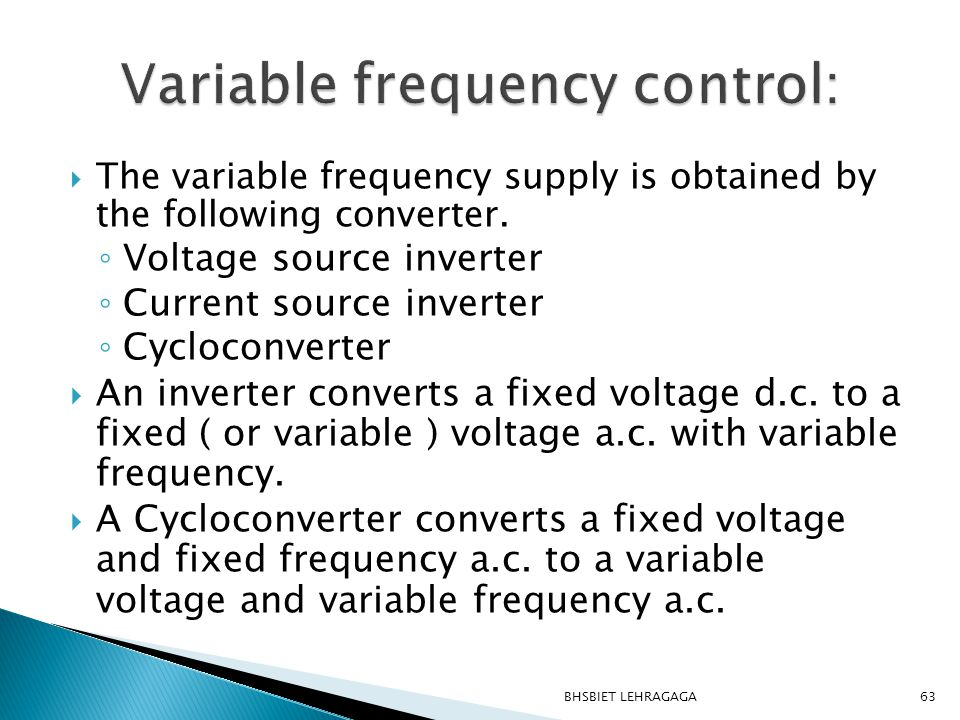 Variable frequency control: