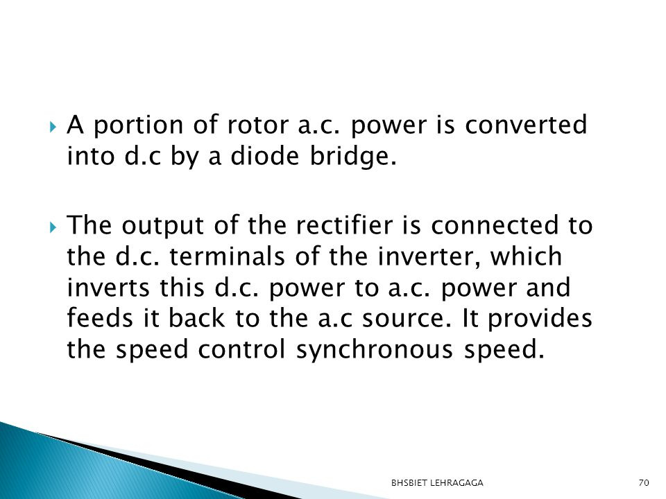 A portion of rotor a.c. power is converted into d.c by a diode bridge.