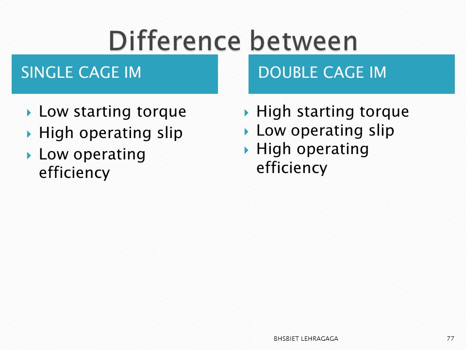 Difference between SINGLE CAGE IM DOUBLE CAGE IM Low starting torque