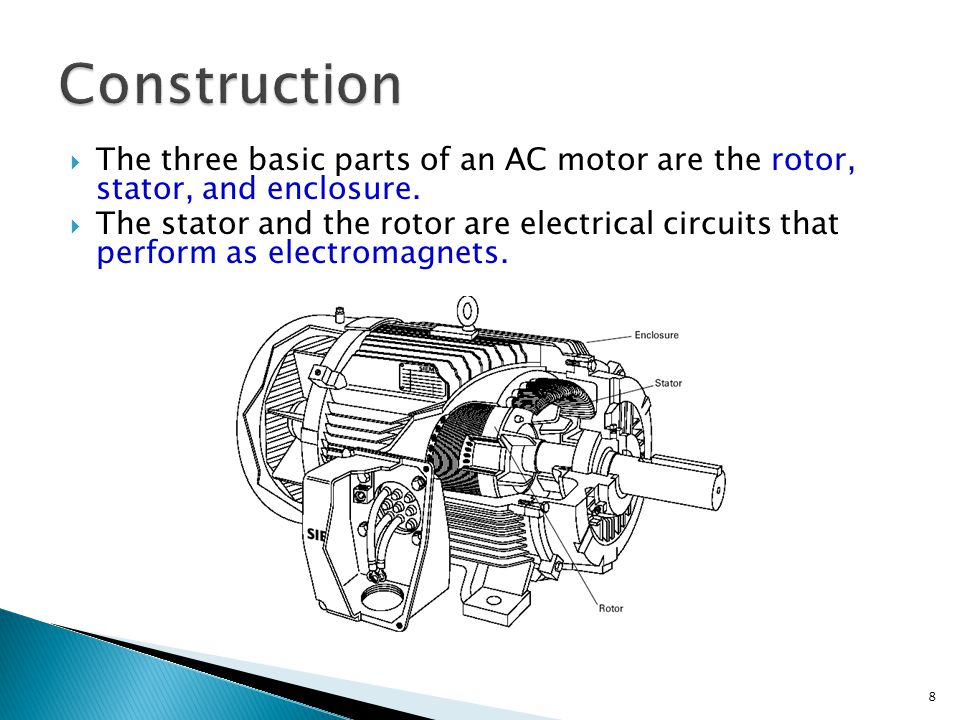 Construction The three basic parts of an AC motor are the rotor, stator, and enclosure.