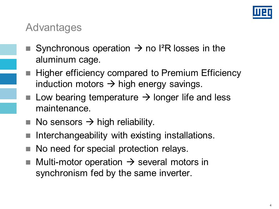 Limitations Limited synchronization capability with inertia  not suitable for all applications.