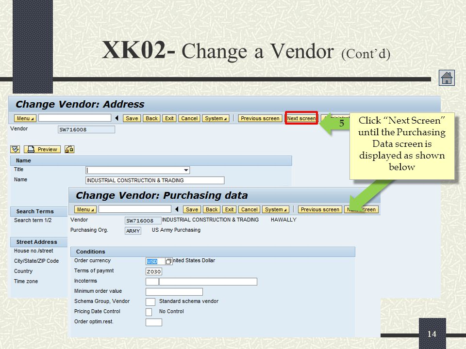XK02- Change a Vendor (Cont'd)
