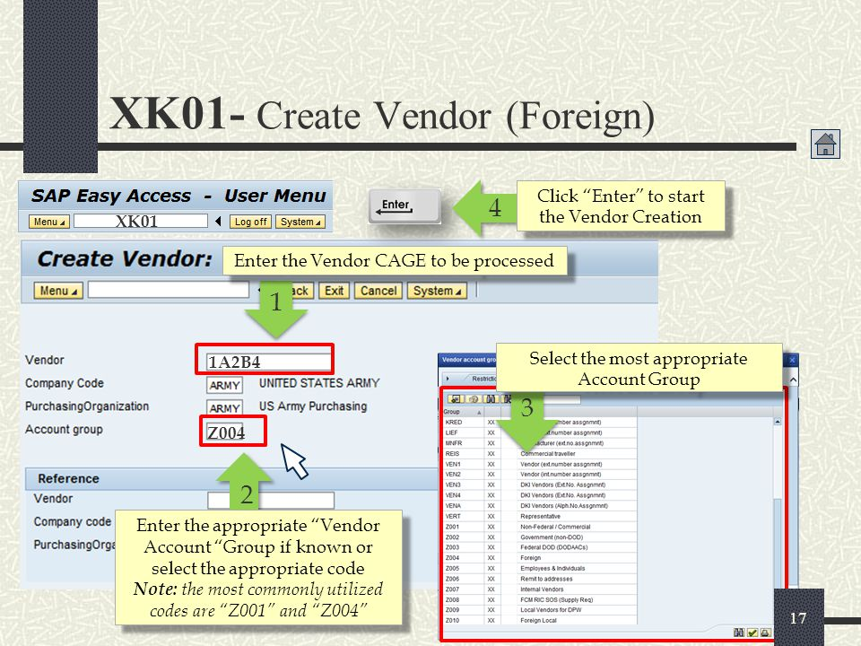 XK01- Create Vendor (Foreign)