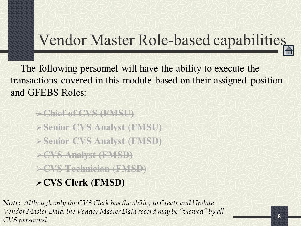 Vendor Master Role-based capabilities
