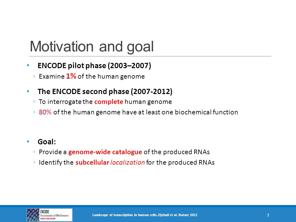 Motivation and goal ENCODE pilot phase (2003–2007)
