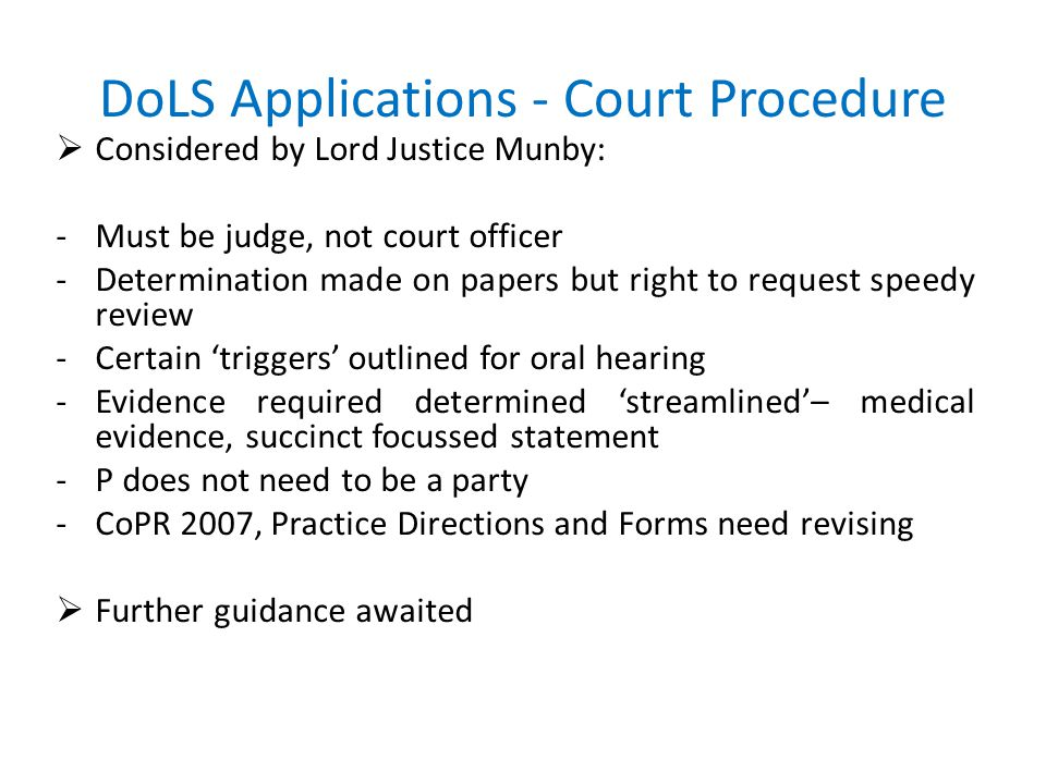 DoLS Applications - Court Procedure