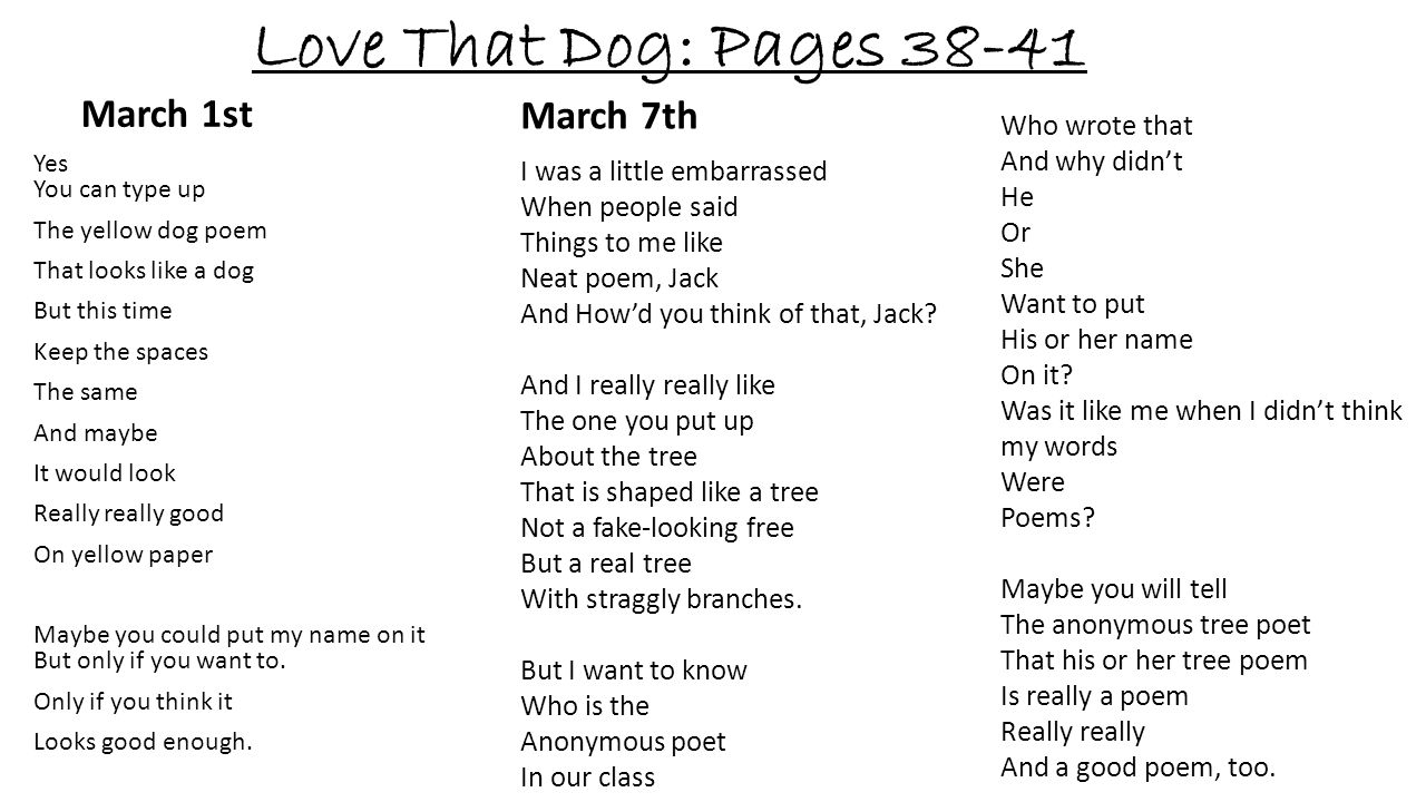 Love That Dog: Pages 38-41 March 1st March 7th Who wrote that