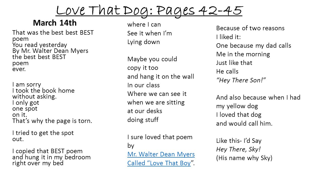 Love That Dog: Pages 42-45 March 14th where I can See it when I'm