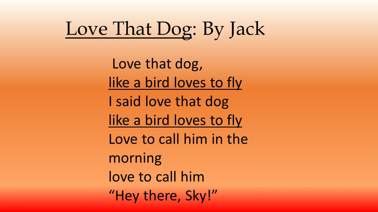 Love That Dog: By Jack Love that dog, like a bird loves to fly
