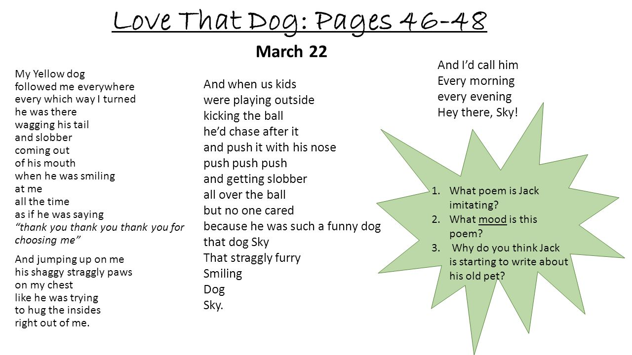 Love That Dog: Pages 46-48 March 22