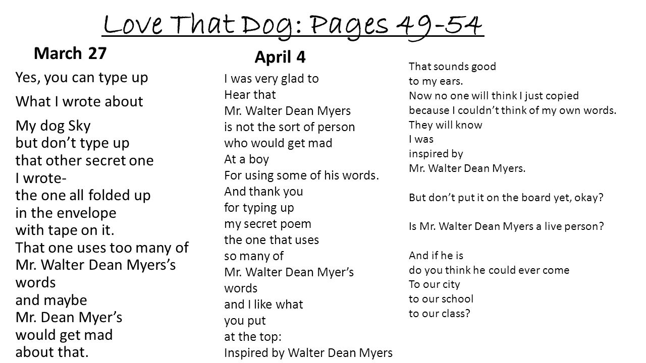 Love That Dog: Pages 49-54 March 27 April 4