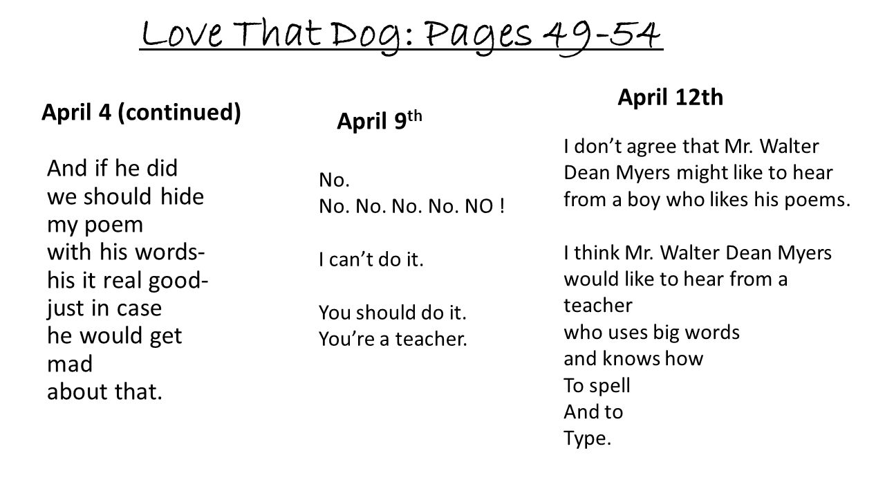 Love That Dog: Pages 49-54 April 12th April 4 (continued) April 9th