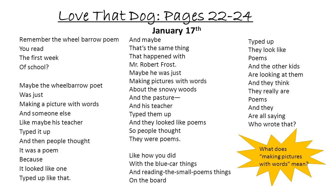 Love That Dog: Pages 22-24 January 17th And maybe