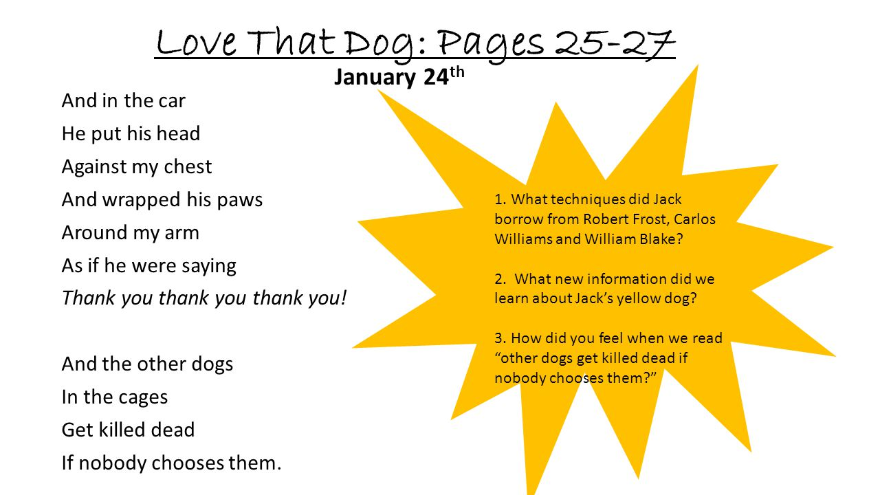 Love That Dog: Pages 25-27 January 24th