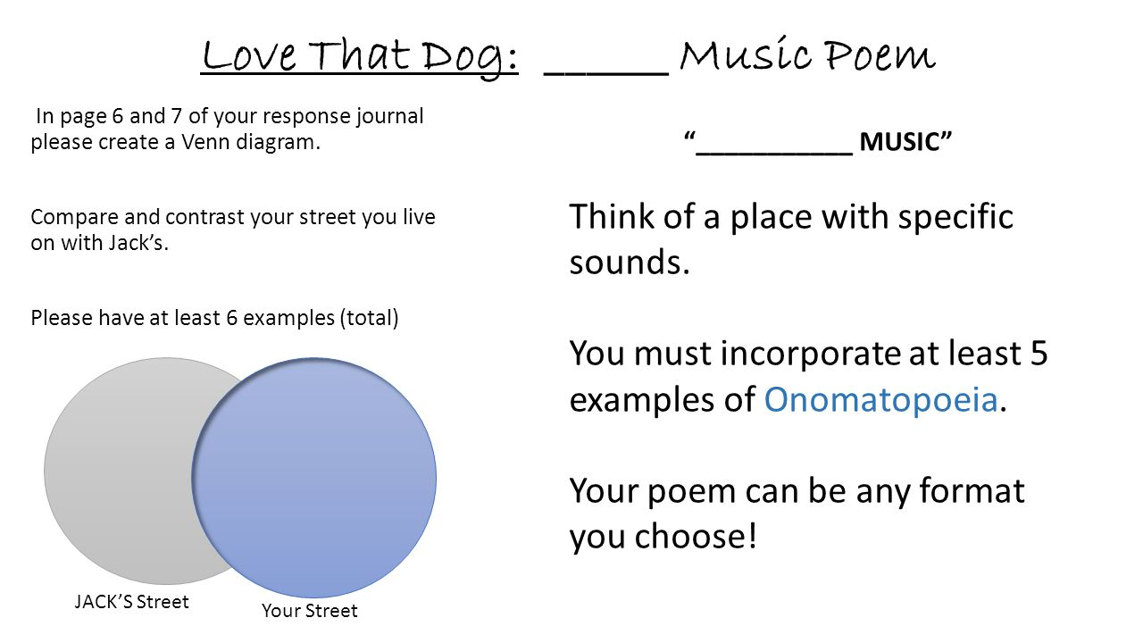 Love That Dog: ______ Music Poem