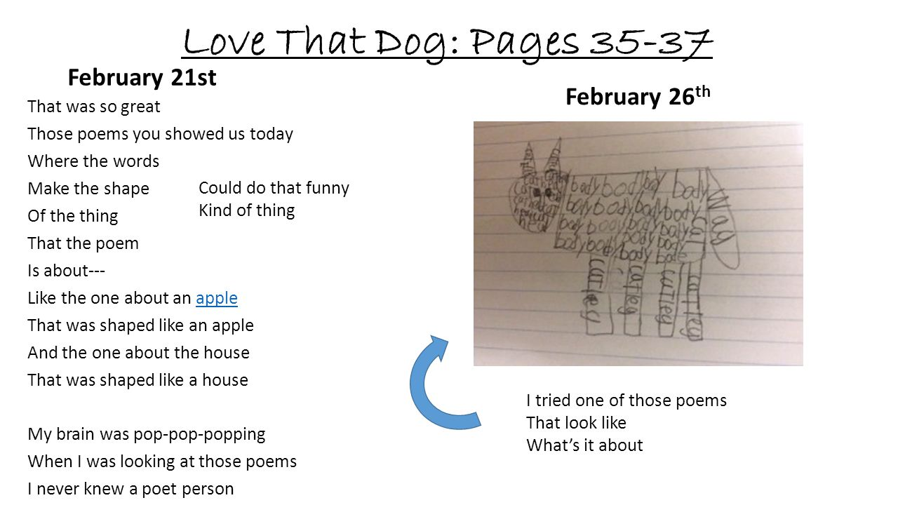 Love That Dog: Pages 35-37 February 21st February 26th