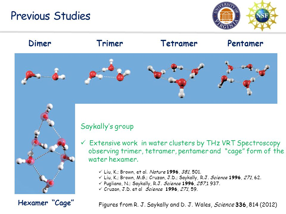 Previous Studies Dimer Trimer Tetramer Pentamer Saykally's group