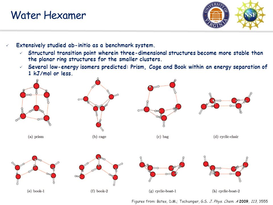 Water Hexamer Extensively studied ab-initio as a benchmark system.