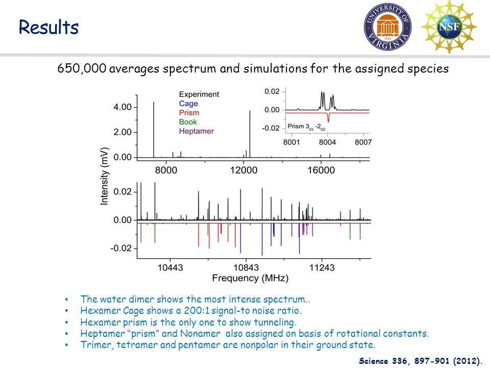 Results 650,000 averages spectrum and simulations for the assigned species. The water dimer shows the most intense spectrum..