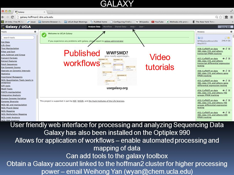 GALAXY Published workflows Video tutorials