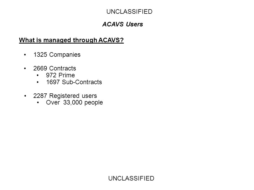 UNCLASSIFIED ACAVS Users. What is managed through ACAVS 1325 Companies. 2669 Contracts. 972 Prime.