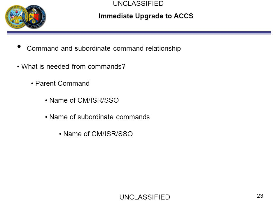 Immediate Upgrade to ACCS