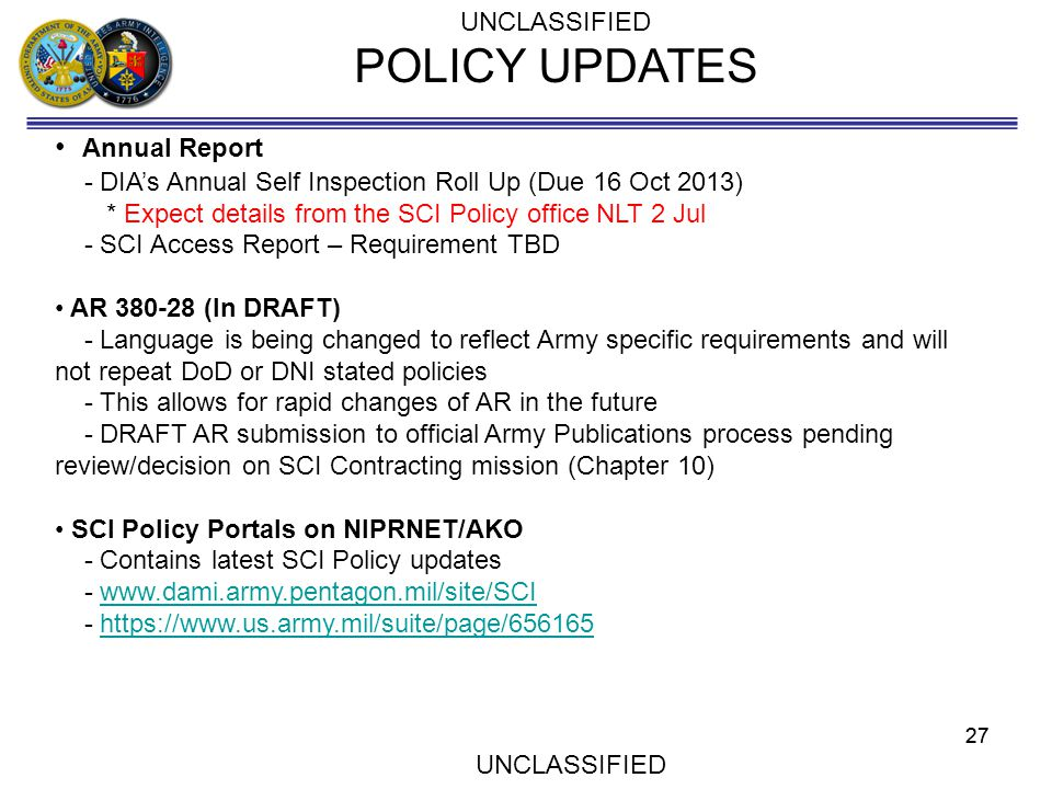 POLICY UPDATES Annual Report UNCLASSIFIED