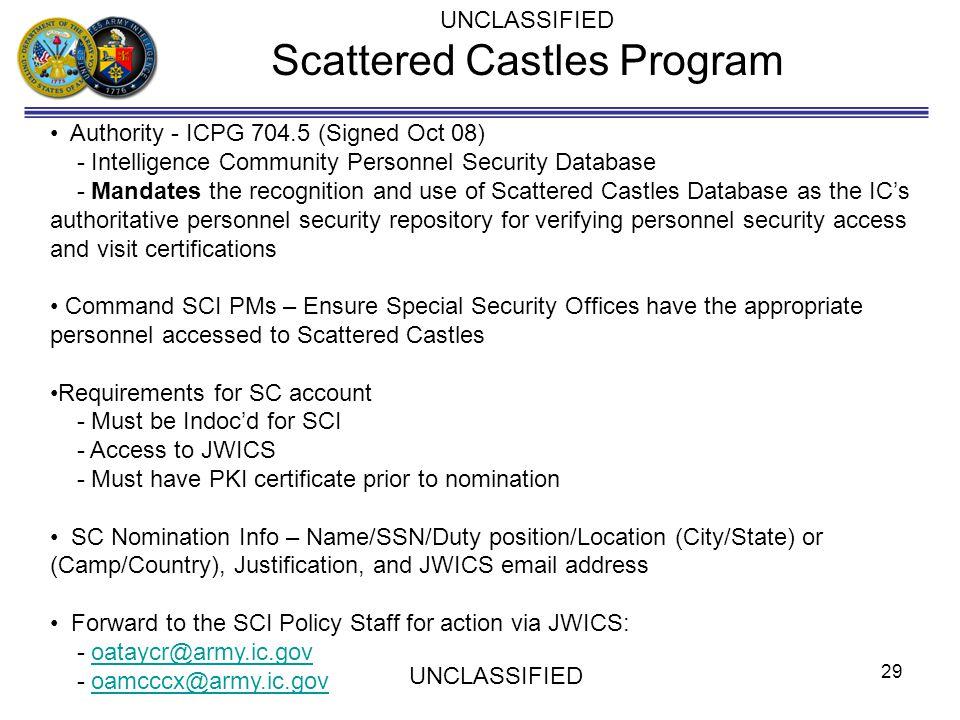 Scattered Castles Program