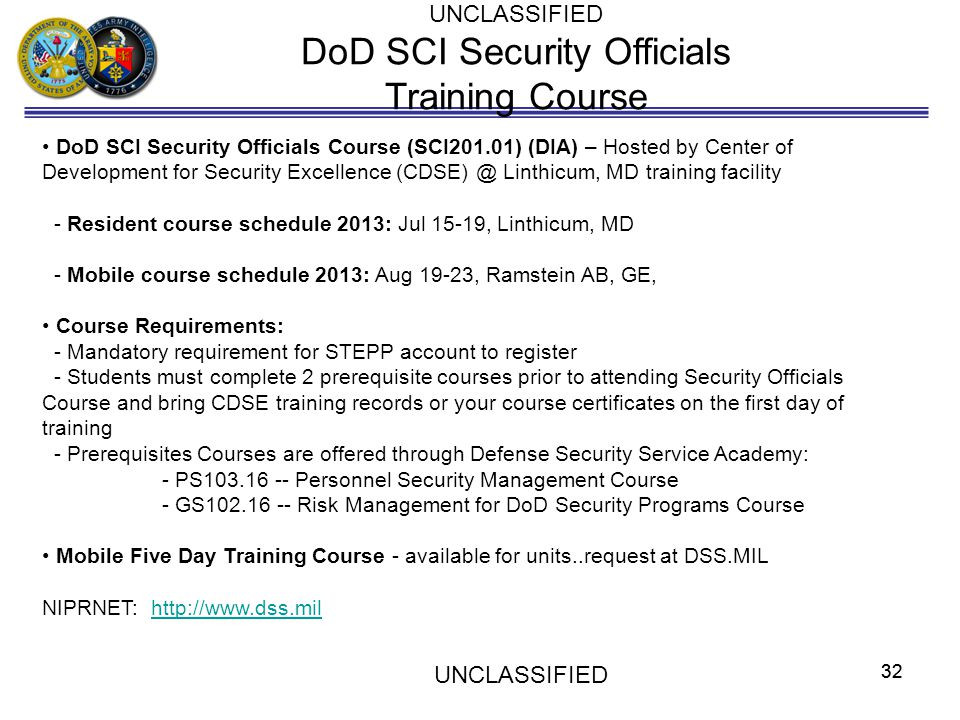 DoD SCI Security Officials Training Course
