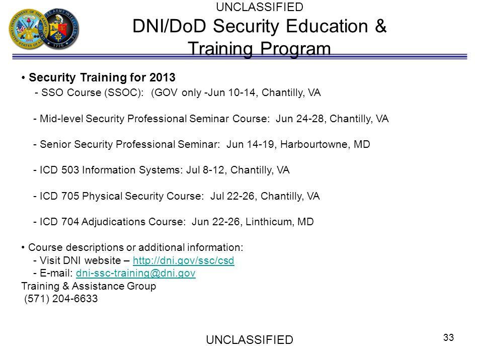 DNI/DoD Security Education & Training Program