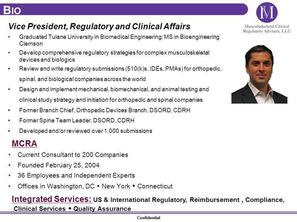 Bio Vice President, Regulatory and Clinical Affairs MCRA