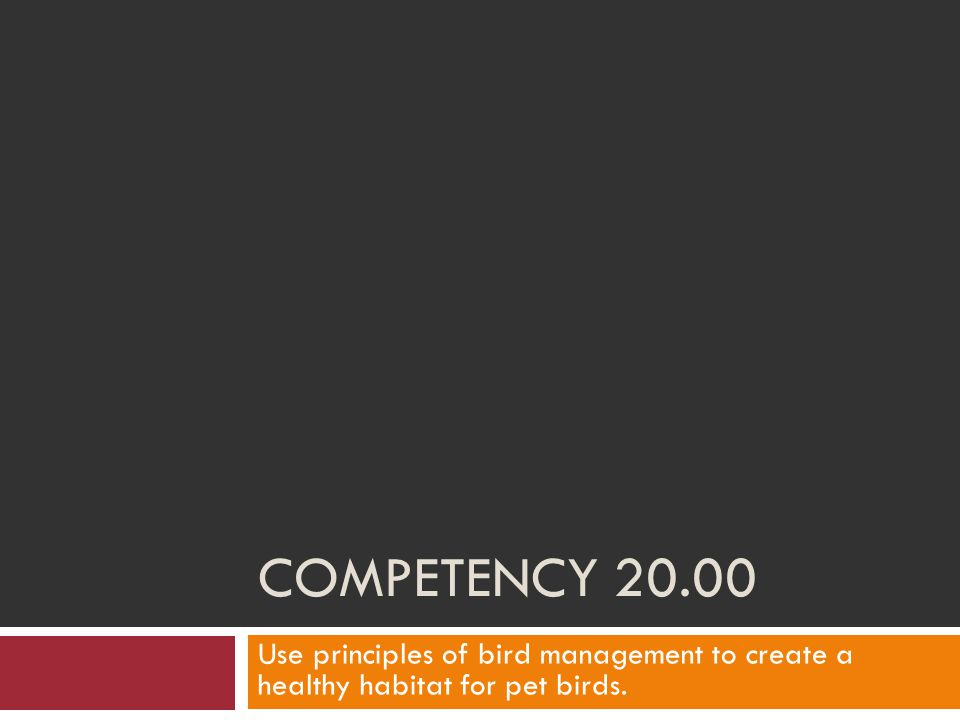Competency 20.00 Use principles of bird management to create a healthy habitat for pet birds.