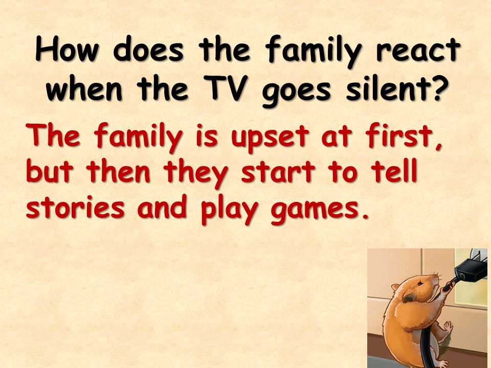 How does the family react when the TV goes silent