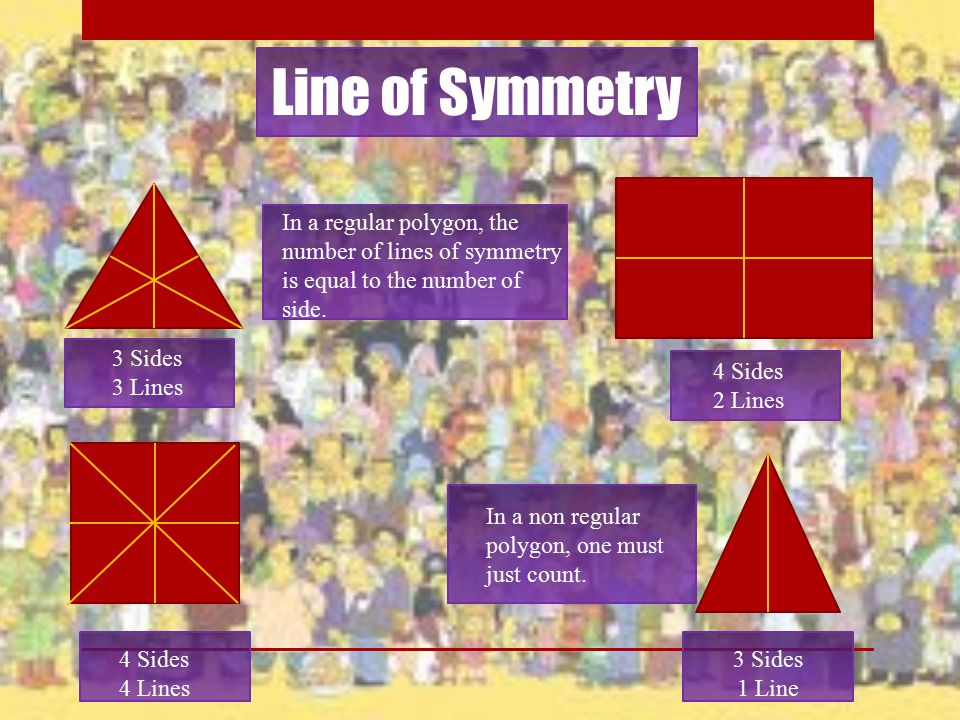 Line of Symmetry In a regular polygon, the number of lines of symmetry is equal to the number of side.