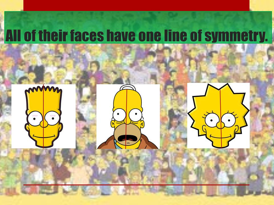 All of their faces have one line of symmetry.