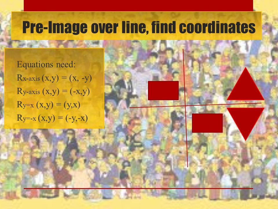 Pre-Image over line, find coordinates