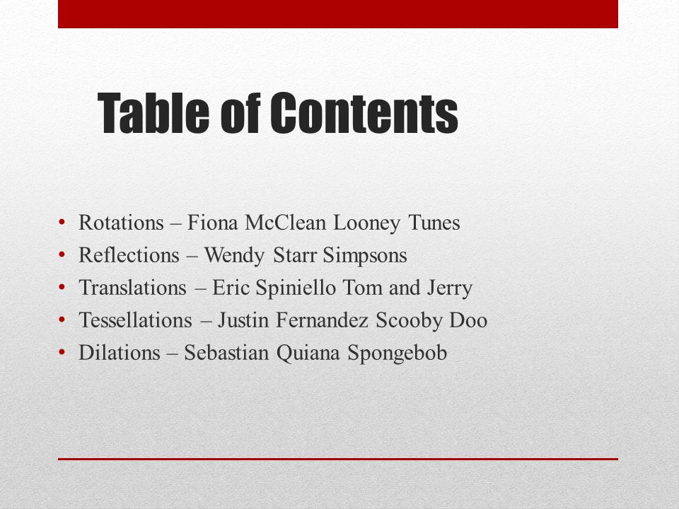 Table of Contents Rotations – Fiona McClean Looney Tunes