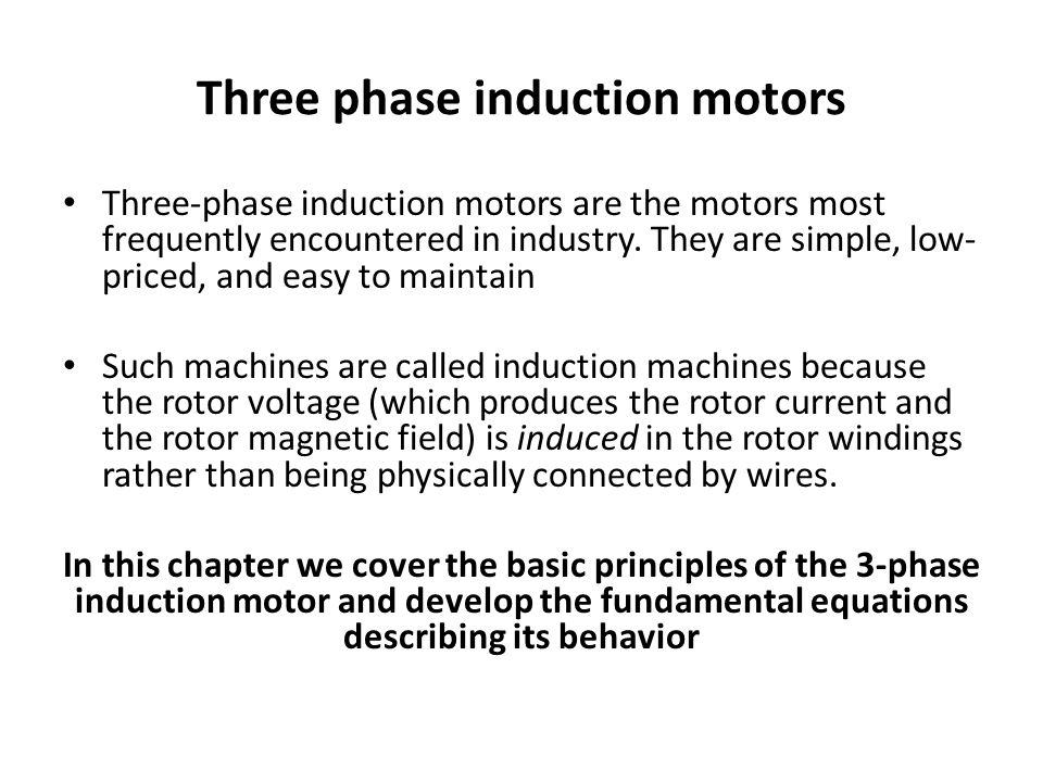 Principle of operation of 3 phase induction motor for Three phase induction motor