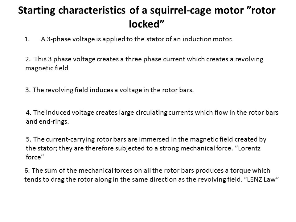 Starting characteristics of a squirrel-cage motor rotor locked