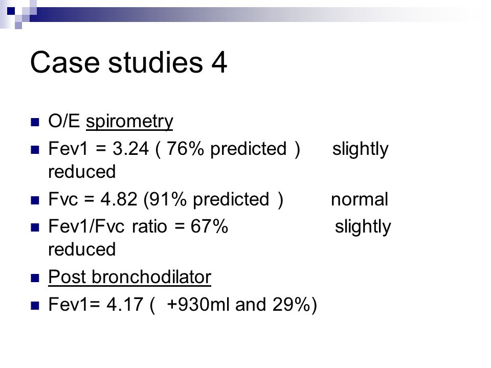 Case studies 4 O/E spirometry