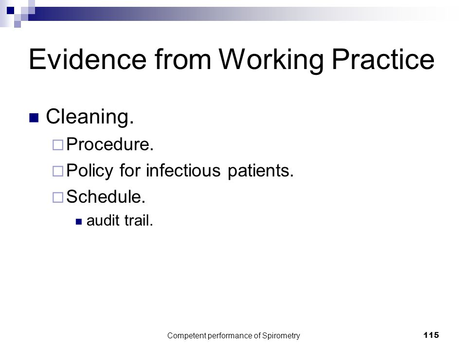 Evidence from Working Practice