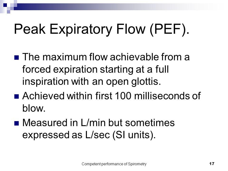 Peak Expiratory Flow (PEF).