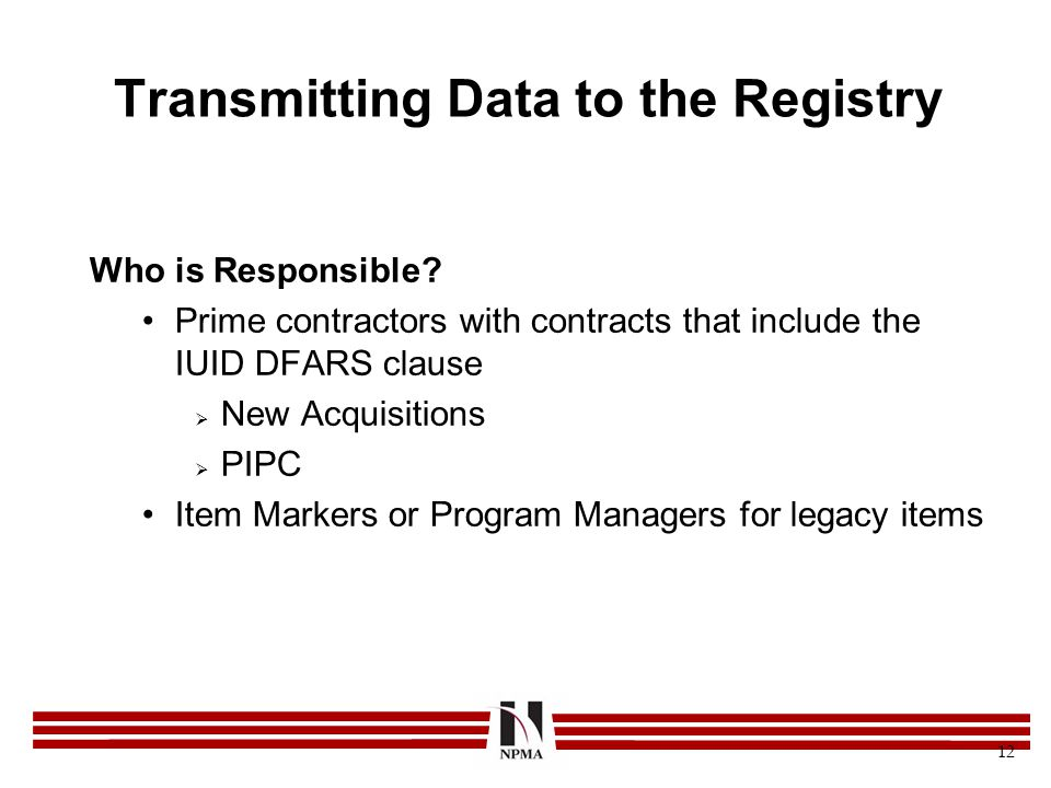Transmitting Data to the Registry