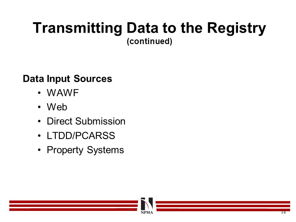 Transmitting Data to the Registry (continued)
