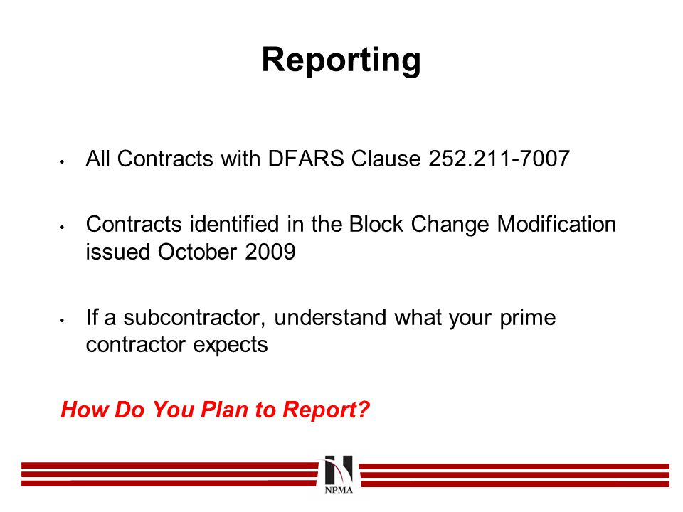 Reporting All Contracts with DFARS Clause 252.211-7007