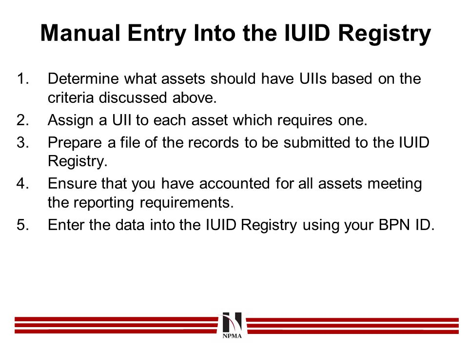 Manual Entry Into the IUID Registry