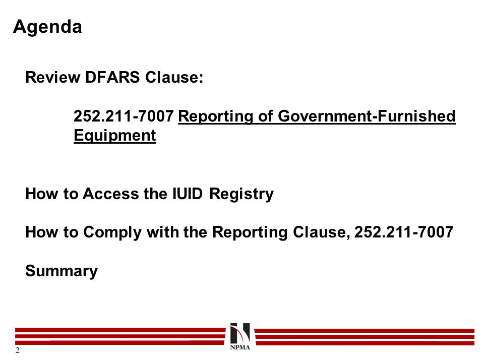 Agenda Review DFARS Clause: