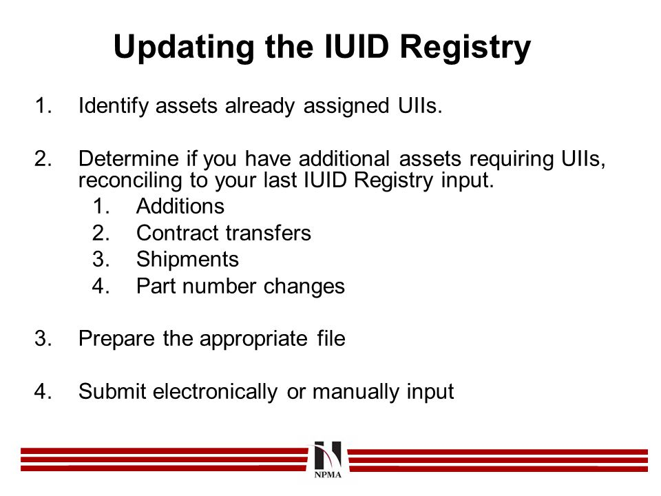 Updating the IUID Registry