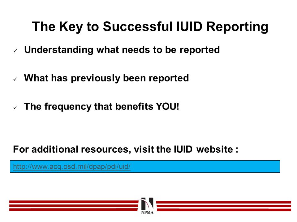 The Key to Successful IUID Reporting